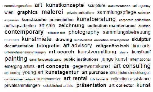 sammlungsaufbau  art  kunstkonzepte  sculpture  dokumentation  art agency wien  graphics  malerei  private collections  sammlungspflege collection expansion  kunstsuche  presentation  kunstberatung  corporate collections auftragsarbeiten  art sale  zeichnung  collection maintenance  austrian contemporary  elisabeth roth  photography  sammlungsbetreuung museum  kunstmiete  drawing  Kunstverkauf  collection development  skulptur documentation  fotografie  art advisory  zeitgenössisch  fine arts unternehmenssammlungen  art search  kunstvermittlung  vienna  Kunstkauf painting  sammlungsergänzung  public institutions  junge kunst  international emerging artists  art concepts  Gegenwartskunst  art consulting art leasing  young art  kunstagentur  art purchase  öffentliche einrichtungen commissioned artwork  kunstsammler   art rental   lucia hudovernik   collection assistance  privatsammlungen  established artists  präsentation  art collector  kunst